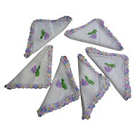 Set of 6 Floral Embroidered Crochet Edges Napkins