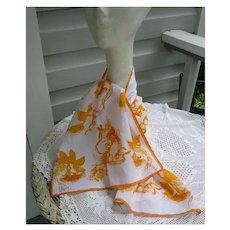 Vintage Vera Yellow Orange Flowers and Tendrils Print Scarf