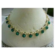 Coro Green Moonglow Moonstones Rhinestones Necklace