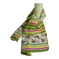 Colorful Magic Mushrooms and Cupids Stripes Vintage Scarf