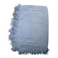 Pale Sky Blue Tiny Rows Vintage Chenille Bedspread for Crafting
