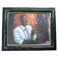 Portrait of Modern Jazz Musician with Sax Framed Painting