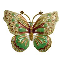 Kenneth Jay Lane Large Enamel and Rhinestones Butterfly Brooch