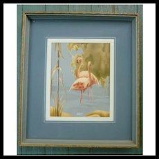 1940s-50s Framed Turner Pink Flamingos Art Print