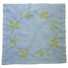 Lovely Lilacs and Leaves Arts & Crafts Embroidery Linen Square Tablecloth or Centerpiece