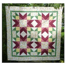 Sweet Dreams Feathered Star Stars and Moons Hand Pieced Quilt Signed