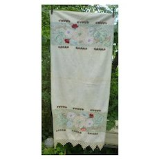 Elaborate Arts & Crafts Embroidery Linen Panel