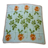Vintage Vera Fluid Orange Roses Green Leaves Long Stems Silk Scarf