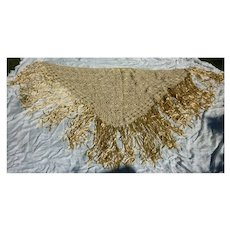 Elaborate Braided Hand Knotted Silk Fringed Very Old Piano Shawl