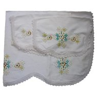 Four Piece Embroidered Bedroom Set Crochet Edging