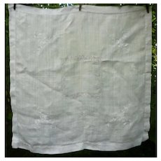Lovely White Linen with White Embroidered Openwork Tablecloth