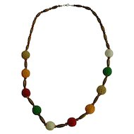 Colorful Boho Hippie Chic Wooden and Crochet Covered Beads Necklace