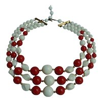 Three Strand Red and White Hard Plastic Beads Choker Necklace