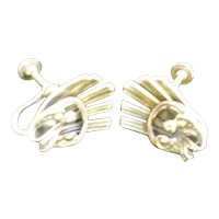 Intricate Beau Silver Screwback Earrings
