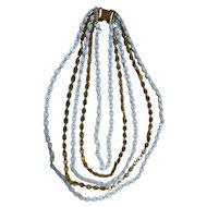 Napier Goldtone and Enamel Links 5 Strand Bib Necklace