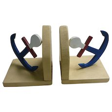 Little Wooden Folk Art Nautical Anchors Bookends