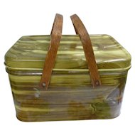 Metal Tin Wood Grain Pattern Picnic Basket Wood Handles