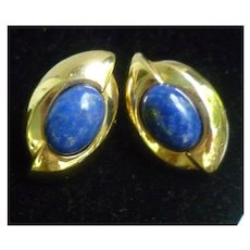 Lovely Lapis and 14K Yellow Gold Pierced Earrings