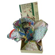 Huge Bunch of 1930's Fabrics and More Cuts for Quilt Blocks in Vintage Xmas Box