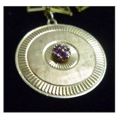 Rubies and 14K Yellow Gold Engraved Disc Pendant Necklace