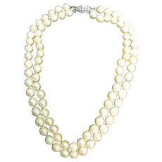Uniform Double Strand Cultured Pearl Necklace with Silver Pearl Clasp