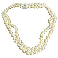 Uniform Double Strand Cultured Pearl Necklace with 14 K Gold Pearl Clasp