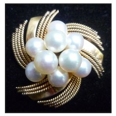 Cultured Pearl with 14 K Gold Rope Design Brooch