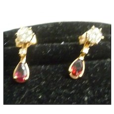 Pair of Ladies 14K Diamond Solitaire Earrings With Garnet Jackets