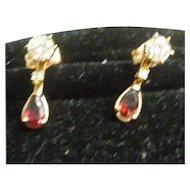Pair of Ladies 14K Diamond Solitaire Earrings With Garnet Jackets