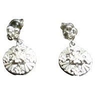 Pair of Ladies Diamond and 14K White Gold Dangle Earrings
