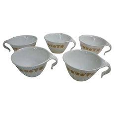 Five Corelle Butterfly Gold Hook Handles Stackable Cups