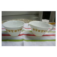 Corelle Butterfly Gold Hook Handles Creamer and Sugar Bowl Set