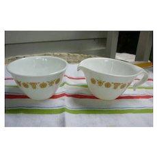 Corelle Butterfly Gold Hook Handles Creamer and Sugar Bowl Set