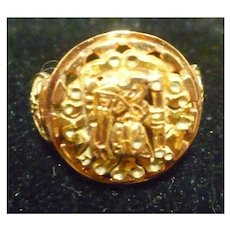 18K Gold Cut Out Mayan Design Ladies Ring