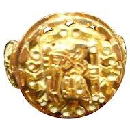 18K Gold Cut Out Mayan Design Ladies Ring