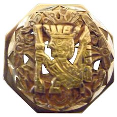 18K Gold Cut Out Mayan Design Six Sided Brooch