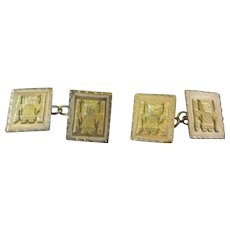 Pair of Gentleman's Stamped Peru 18K Yellow Gold Cufflinks
