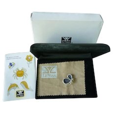 LeVian 18K White Gold Diamonds and Sapphires Butterfly Brooch in Original Box