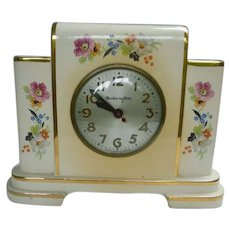 Gorgeous Vintage Electric Porcelain with Flowers Electric Mantle Clock by MasterCrafters and Sessions