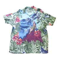 Nautica Fabulous Hula Girl Print Hawaiian Aloha Surfer Shirt L