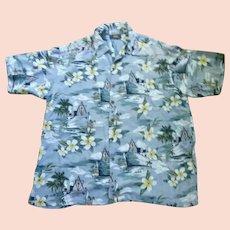 Route 66 Cruise Ship and Flowers Print Hawaiian Aloha Surfer Shirt  XL