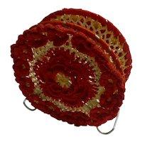 Red and White Crochet Napkin Holder