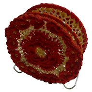 Red and White Crochet Napkin Holder
