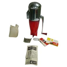 Red and Chrome Rocket Ship Dasey Triple Ice Crusher with Wall Bracket and Instructions