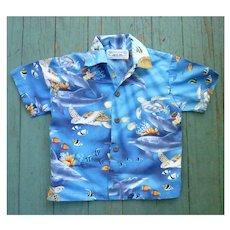 Pacific Legends Hawaii Turtles and Fish Print Kids Aloha Surfer Shirt 2T