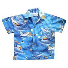 Pacific Legends Hawaii Turtles and Fish Print Kids Aloha Surfer Shirt 2T