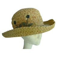 Natural Straw with Flowers Scala Collection Vintage Hat