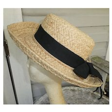 Natural Straw with Black Trim and Bow Scala Collection Vintage Hat