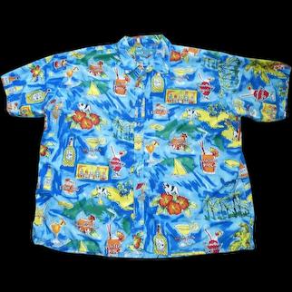 Vintage Big Dogs Label Hawaiian Shirt Cocktails Print Size 3X Large