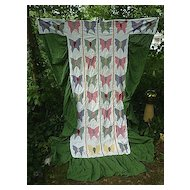 Applique Butterflies Quilt Coverlet With Skirts Twin